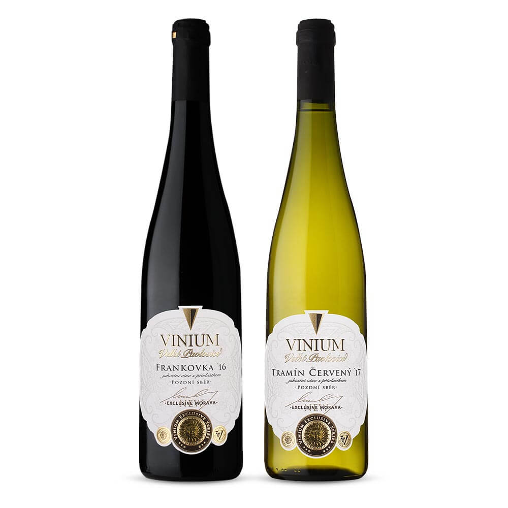 Oceněná vína, Frankovka 2016 a Tramín červený 2017, pozdní sběr, VINIUM Exclusive