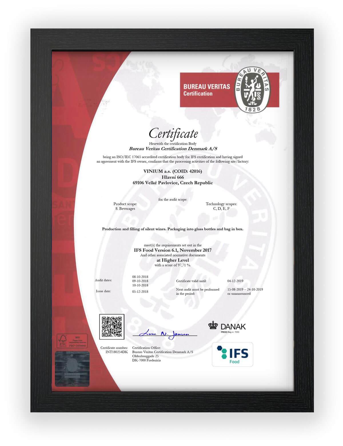 IFS Food certifikát VINIUM Velké Pavlovice