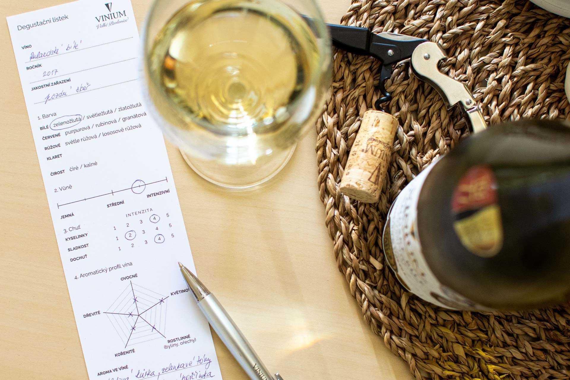 Degustační lístek, jak degustovat víno
